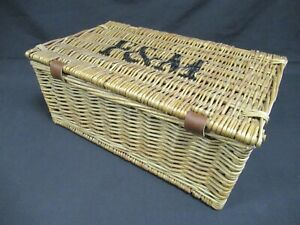 """Fortnum & Mason F&M small wicker hamper basket 16"""" x 9.5"""" x 6.5"""""""