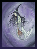 Broomstick Green Witch Mermaid Print Camille Grimshaw Halloween