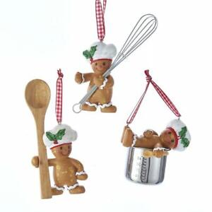 "3.5"" Gingerbread Boy Baking  Theme Christmas Ornament Set of 3"