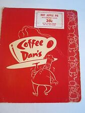 "VINTAGE COFFEE DAN'S RESTAURANT MENU - 12"" X  10"" CLOSED MENU -TUB BN-14"