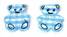 2X SML TEDDY BEARS BLUE 2.5cm Embroidered Sew Iron On Cloth Patch Badge APPLIQUE