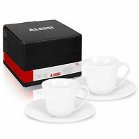 2 4 6 Alessi KU Cups & Saucer Ceramic Espresso Coffee Porcelaine Gift Boxed Set