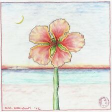 """Dimitris C. Milionis """"FLOWER"""" Signed Colored Drawing on Tracing Paper 2012 Greek"""