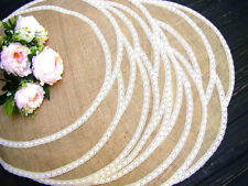 Round Burlap and ivory lace Placemat Circular Rustic Wedding Overlays Table Mat