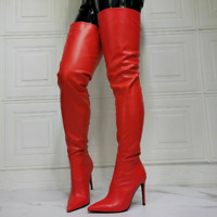 Women High Heels Over The Knee High Thigh Boots Leather Pointy Toe Stiletto Shoe