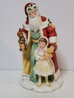 Vtg 1995 Porcelain Santa Little Girl  Figurine Avon Source of Fine Collectibles