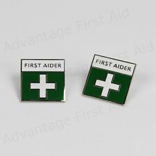 First Aid / Aider Green Metal Enamel Badges - Locking Pin. Event & Medical Qty 2