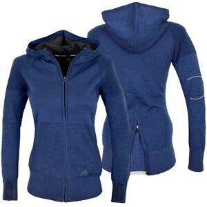 Adidas Damen Laufjacke Sport Jacke Strickjacke Winter Trainingsjacke Hoodie blau