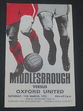 Middlesbrough V Oxford    1971/2