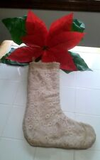 "Domain Burlap Look Country Christmas Stocking 19"" Ornate Trim ""Lacy"" Face NWOT"