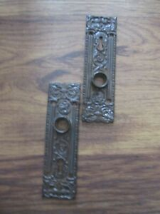 "Pair Antique Victorian Cast Iron Door Knob Back Plates 5 7/8"" x 1 1/4"""