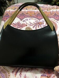Beautiful Vintage 50's Black Leather Kelly Back By Ackery Of London
