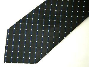 "Stafford Mens Necktie Tie Black Blue White Checkered Polka Dot 60"""
