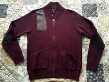 Men's BARBOUR Pure Wool Cardigan Cow Leather Trim Size L