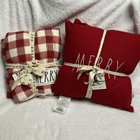 New Rae Dunn MERRY Throw Blanket And Pillows Bundle