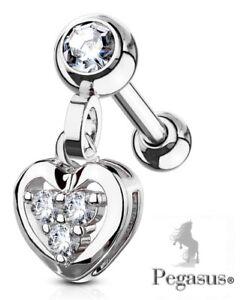 Dangle Silver Paved Heart Upper  Ear, Daith,Cartilage,Helix,tragus Bar Barbell