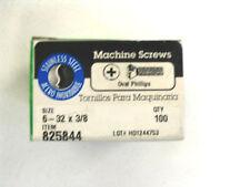 """6 - 32 x 3/8 """" SS Phillips Oval Head Machine Screws - Hillman Box of 100"""
