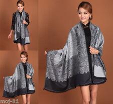 New Fashion Women's Black Gray Flower Pashmina Cashmere Scarf Wrap Shawl Stole