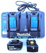 (2) New Makita 18V BL1840B Batteries, 1) DC18RD Dual Battery Charger 18 Volt USB
