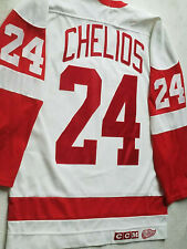 Chris Chelios Detroit Red Wings jersey Mens XL White #24 CCM NHL vintage