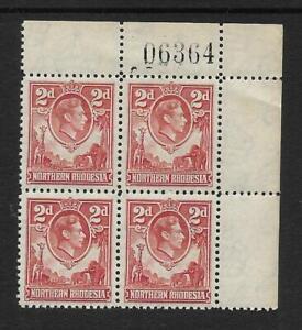 N.RHODESIA, KGV1 1938 DEFINS, 2d SG 32, MNH SHEET NO  BLOCK 4