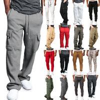 Men Drastring Tracksuit Bottoms Loose Jogging Joggers Sweat Pants Cotton Trouser