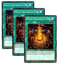 Set 3X FESTA SELVAGGIA LV5 DUEA-IT056 Magia Comune in Italiano YUGIOH
