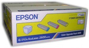 Original Epson Couleur Mise Paquet S050289 0289 Cyan Magenta Jaune Aculaser 2600