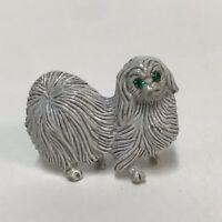 Signed Gerry's White Shih Tzu Pin Vintage Puppy Dog Brooch Green Eyes Vintage