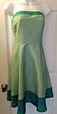 Women's YA LOS ANGELES Dress Turquoise Ivory Strapless Fit Flare Exposed Zip L