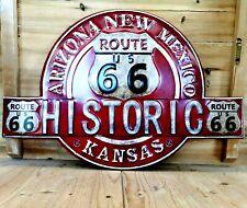 Blechschild Route 66 USA geprägt ca. 50 x 33 cm Schild used look retro NEU