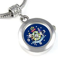 Maine State Flag Silver European Charm Bead Quartz Watch For Bracelet EBA436