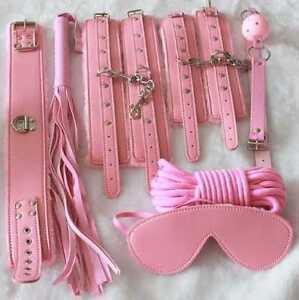 Pink Real Leather Bondage Set Kit - Faux Fur Lined- Collar, Wristcuffs, Ballgag