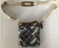 Coach vintage crossbody bags B0873-41462 Blue Patchwork