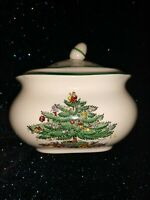 Spode Christmas Tree sugar bowl with lid Made in England S3324-A1
