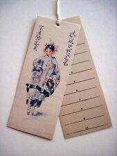 Vintage Art Deco Bridge Tally Card w/ Asian Girl in Blue & Pink   *