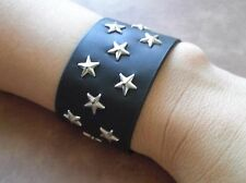 Leather Cuff Bracelet Black White Harley Biker Metal Star Rivets Adjustable