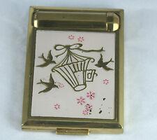 Vintage Richard Hudnut Triple Compact Powder Rouge Lipstick Pink Enamel Birds