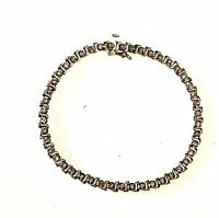 "14k yellow gold .92ct diamond SI2 H tennis bracelet 7"" vintage estate 6.5g"
