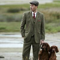 Wool Blend Olive Green Men Suit Plaid Hunting Vintage Tuxedo Wedding Prom Suit
