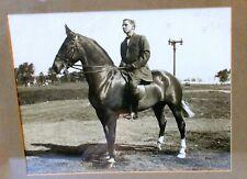 Antique Art PHOTOGRAPH Gentleman on HORSE Equestrian Framed
