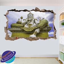Gold Buddah Statue 3D Window Effect Wall Sticker Mural 903