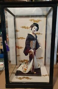 """Vintage Japanese Geisha Doll 18"""" Tall in glass case"""