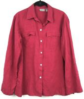 Chico's 1 Medium Button Down Shirt Berry Red 100% Silk Long Sleeve Blouse Top