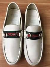 GUCCI 'Damo' Web Stripe White 500 SE Driving Loafers #263559, Sz 7.5 UK (8 US)