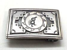 Hopi Design Bird Unique Overlay Belt Buckle Sterling Silver 925 27g JSV89