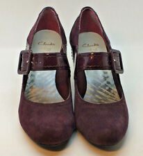 CLARKS CUSHION SOFT SHOES SIZE 6 / 39 MARY JANE Buckle. PLUM PURPLE BERRY