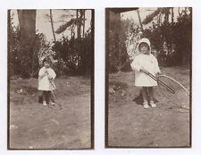 PHOTO ANCIENNE Jouet Jeu Cerceau Petite Fille Vers 1920 Jardin Arbre Extérieur