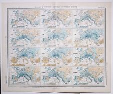 1899 LARGE WEATHER METEOROLOGY MAP ISOBARS & ISOHYETS CENTRAL & SOUTHERN EUROPE