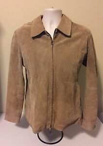RELATIVITY Tan Suede Leather Jacket WOMEN'S Coat Size LARGE BUST 42-44 VERY NICE